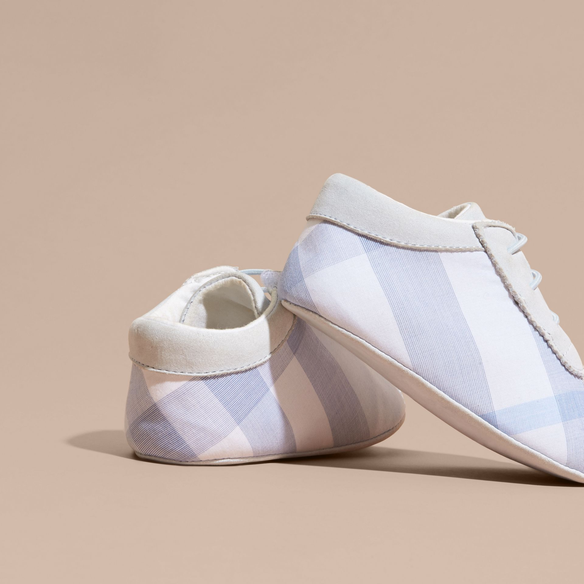Check Cotton and Leather Slip-on Booties in Ice Blue - Children | Burberry - gallery image 4