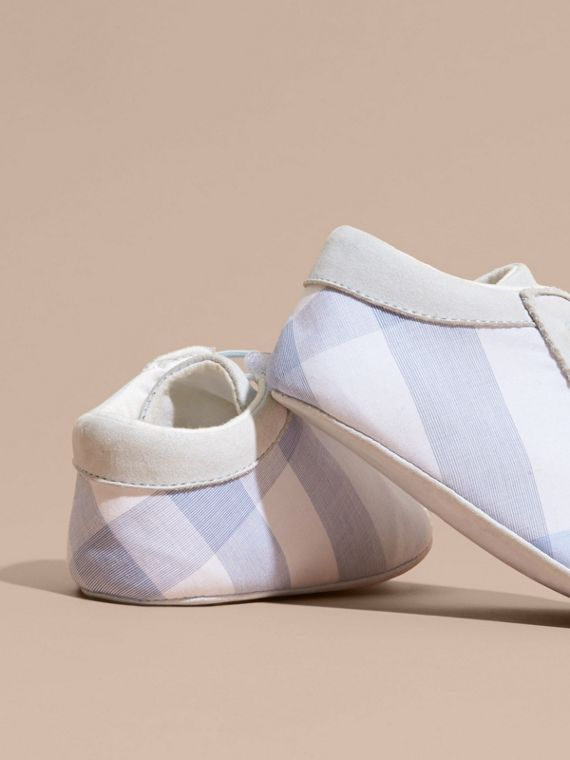 Check Cotton and Leather Slip-on Booties in Ice Blue - Children | Burberry - cell image 3