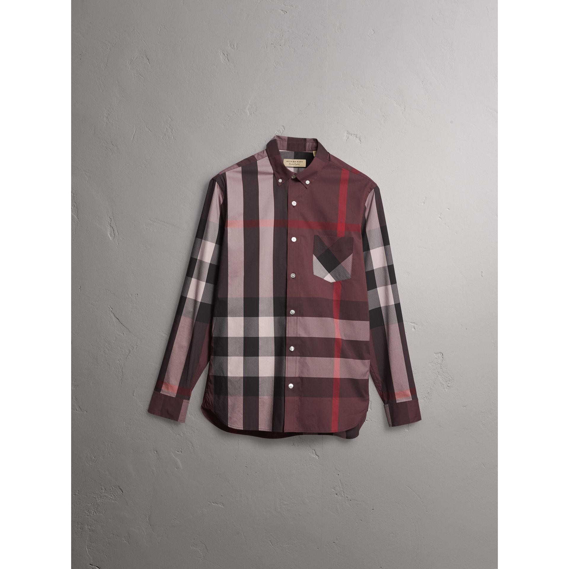 Button-down Collar Check Stretch Cotton Blend Shirt in Mahogany Red - Men | Burberry - gallery image 3