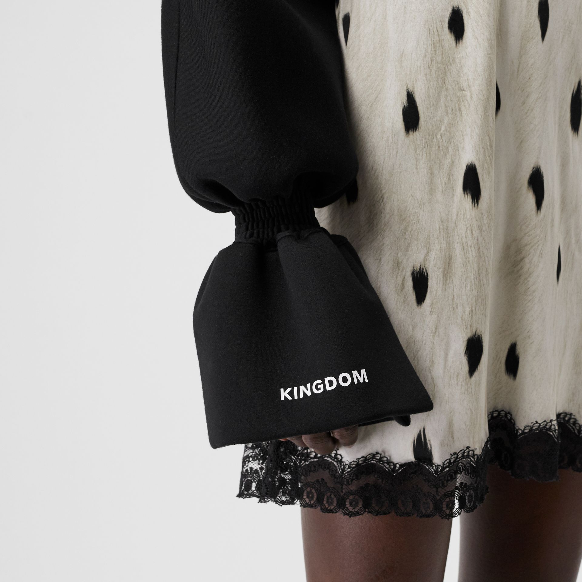 Kingdom Print Neoprene Puff Sleeves in Black - Women | Burberry - gallery image 5