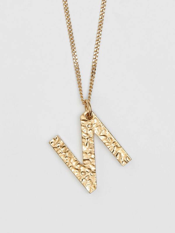'N' Alphabet Charm Gold-plated Necklace in Light - Women | Burberry United Kingdom - cell image 2