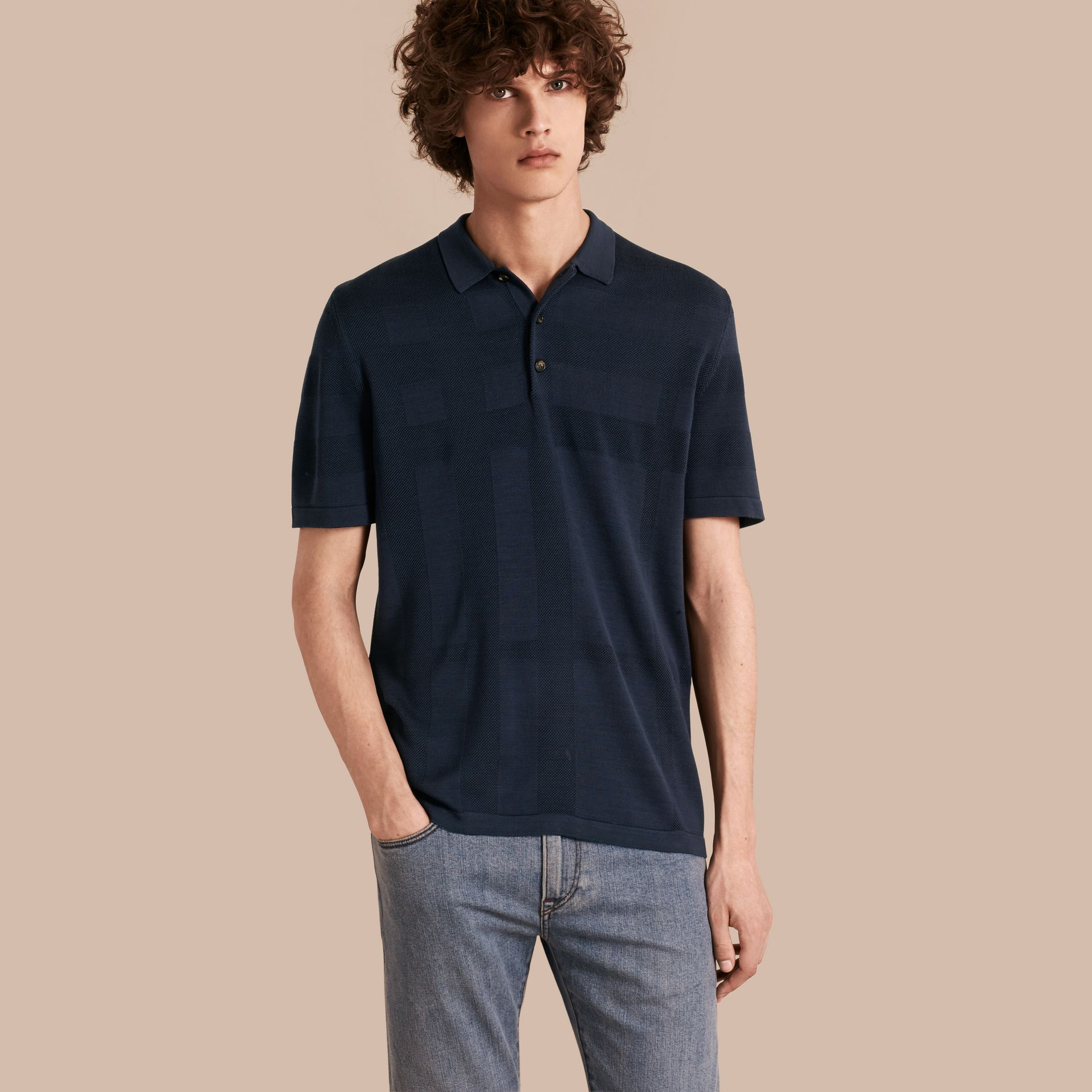 Check Jacquard Piqué Silk Cotton Polo Shirt in Navy - Men | Burberry - gallery image 1