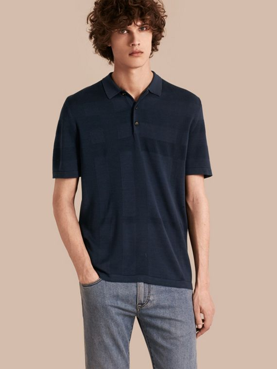 Check Jacquard Piqué Silk Cotton Polo Shirt in Navy