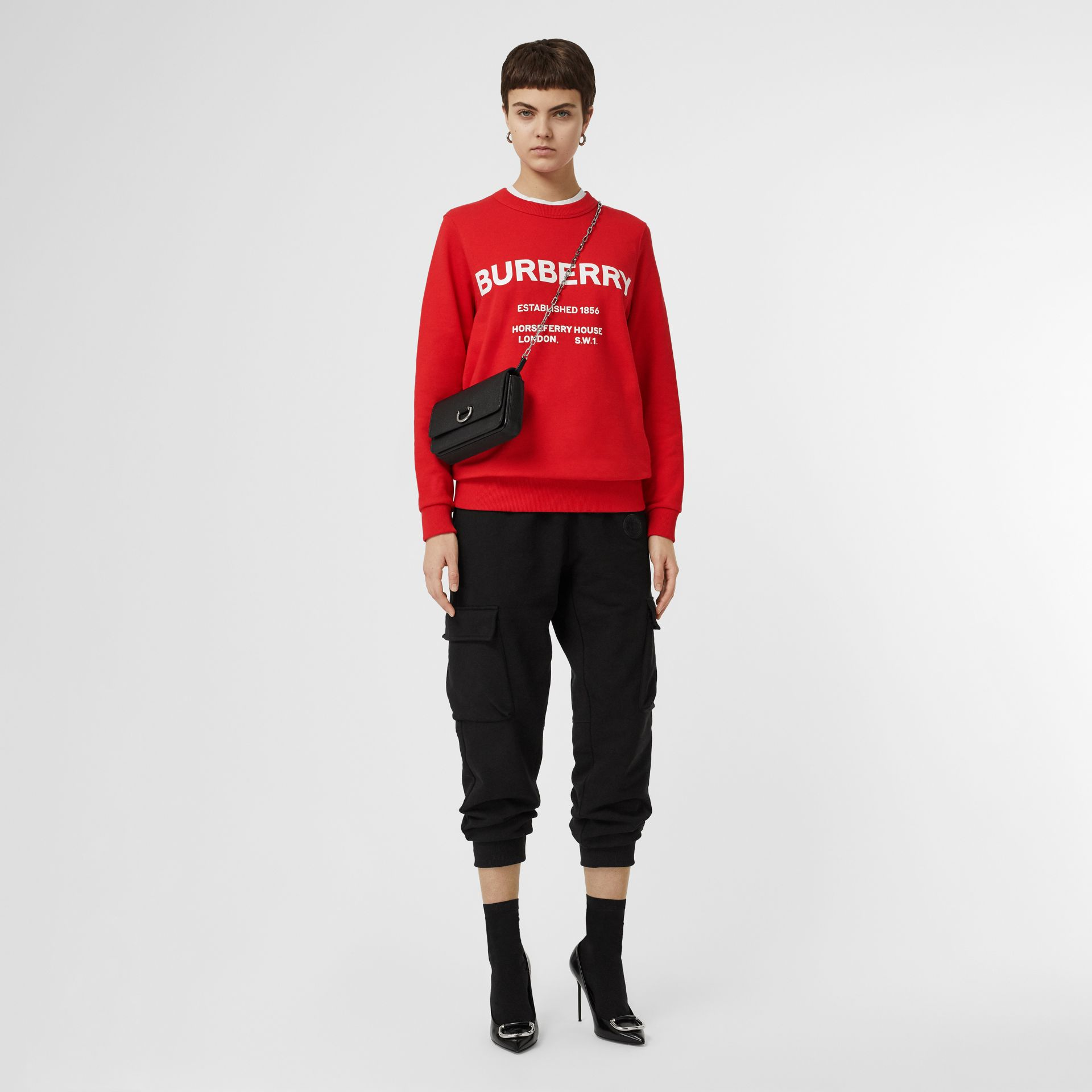 Horseferry Print Cotton Sweatshirt in Bright Red - Women | Burberry United Kingdom - gallery image 0