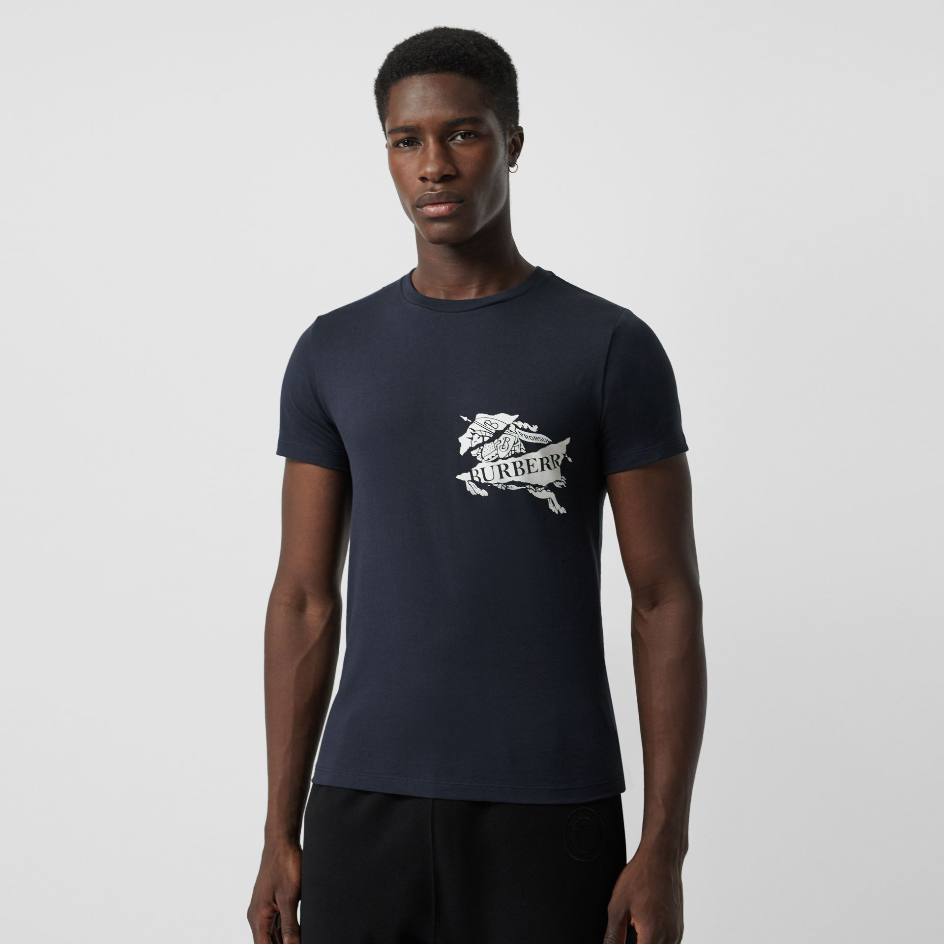 Collage Logo Print Cotton T-shirt in Navy - Men | Burberry - gallery image 0