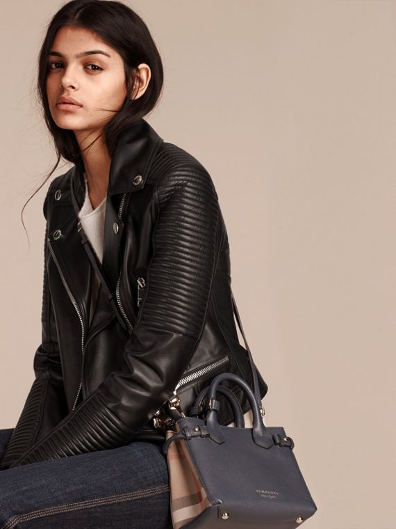 The Baby Banner in Leather and House Check in Ink Blue - Women | Burberry Australia - cell image 2