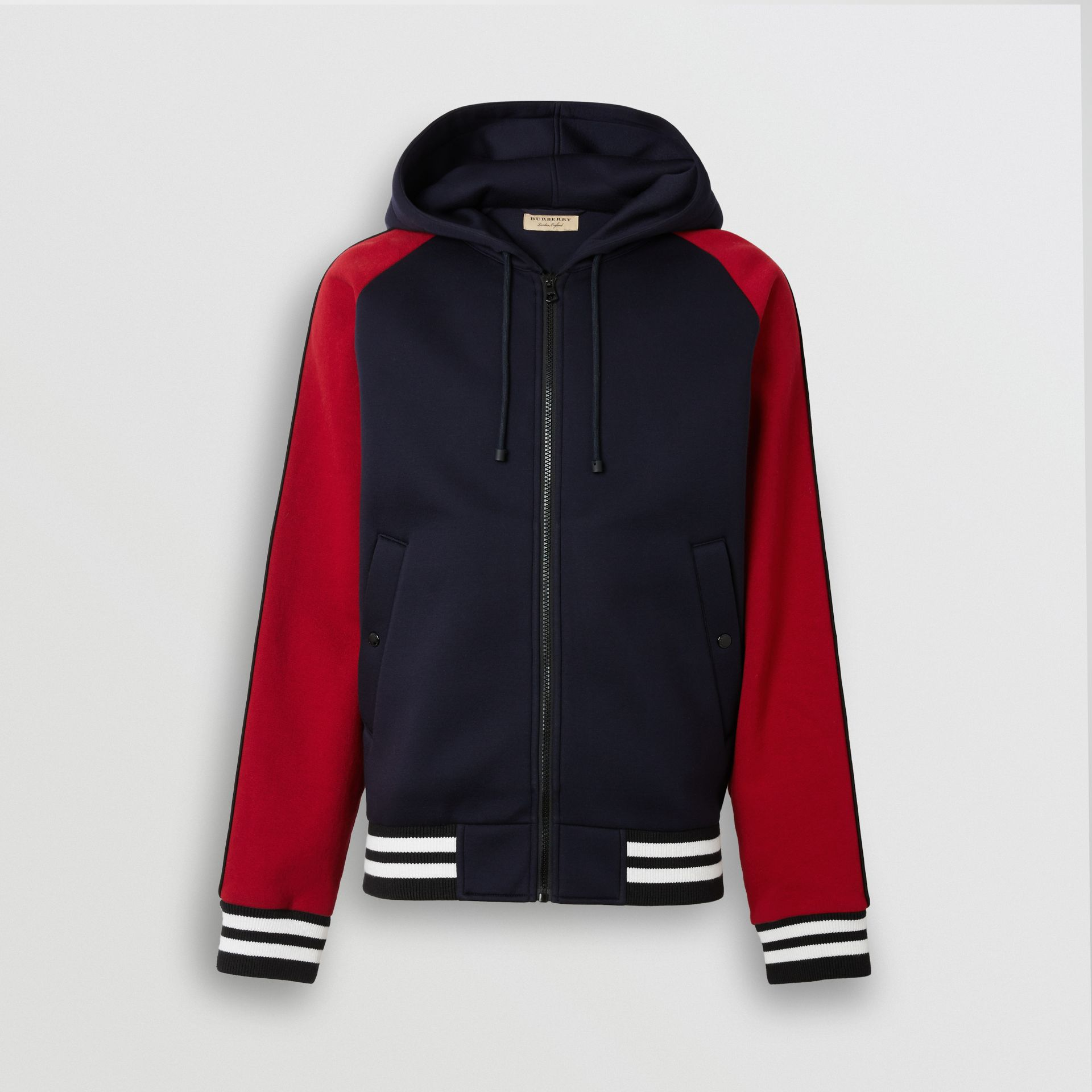 Contrast Crest Neoprene Hooded Top in Navy - Men | Burberry - gallery image 3