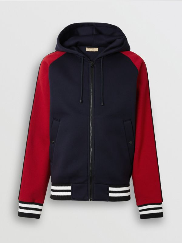 Contrast Crest Neoprene Hooded Top in Navy - Men | Burberry - cell image 3