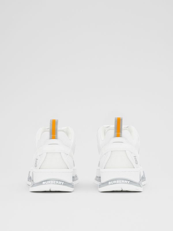 Nylon and Leather Union Sneakers in Optic White - Women | Burberry United Kingdom - cell image 3