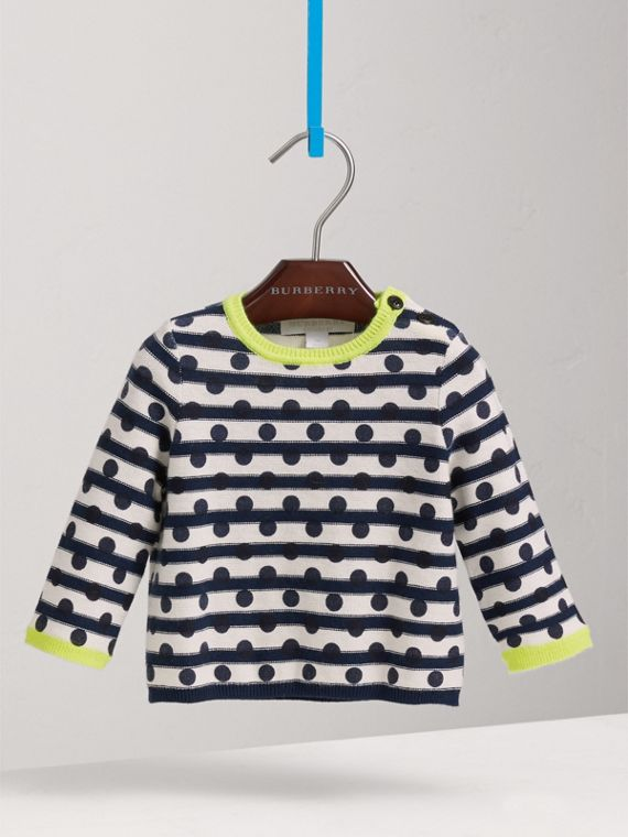 Spot Print Striped Cotton Cashmere Sweater in Navy