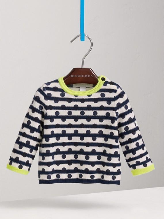 Suéter de algodão e cashmere com listras e estampa de poás (Azul Marinho)