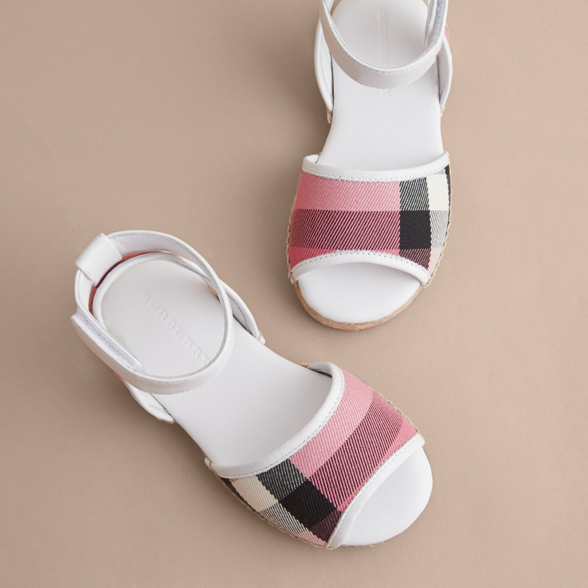 Leather Ankle Strap and House Check Espadrille Sandals in Rose Pink - Girl | Burberry Hong Kong - gallery image 3