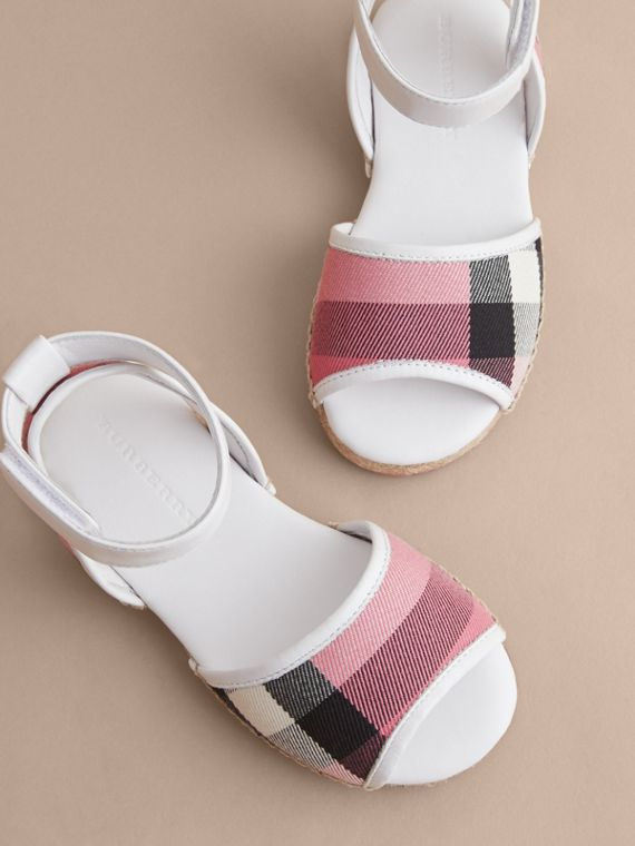 Leather Ankle Strap and House Check Espadrille Sandals | Burberry Australia - cell image 2