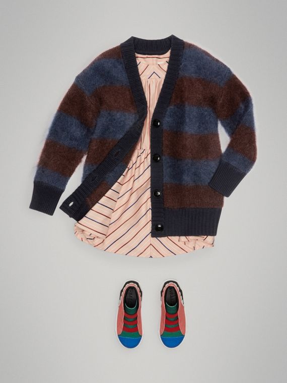 Tri-tone Striped Mohair Blend Cardigan in Burgundy - Girl | Burberry - cell image 2