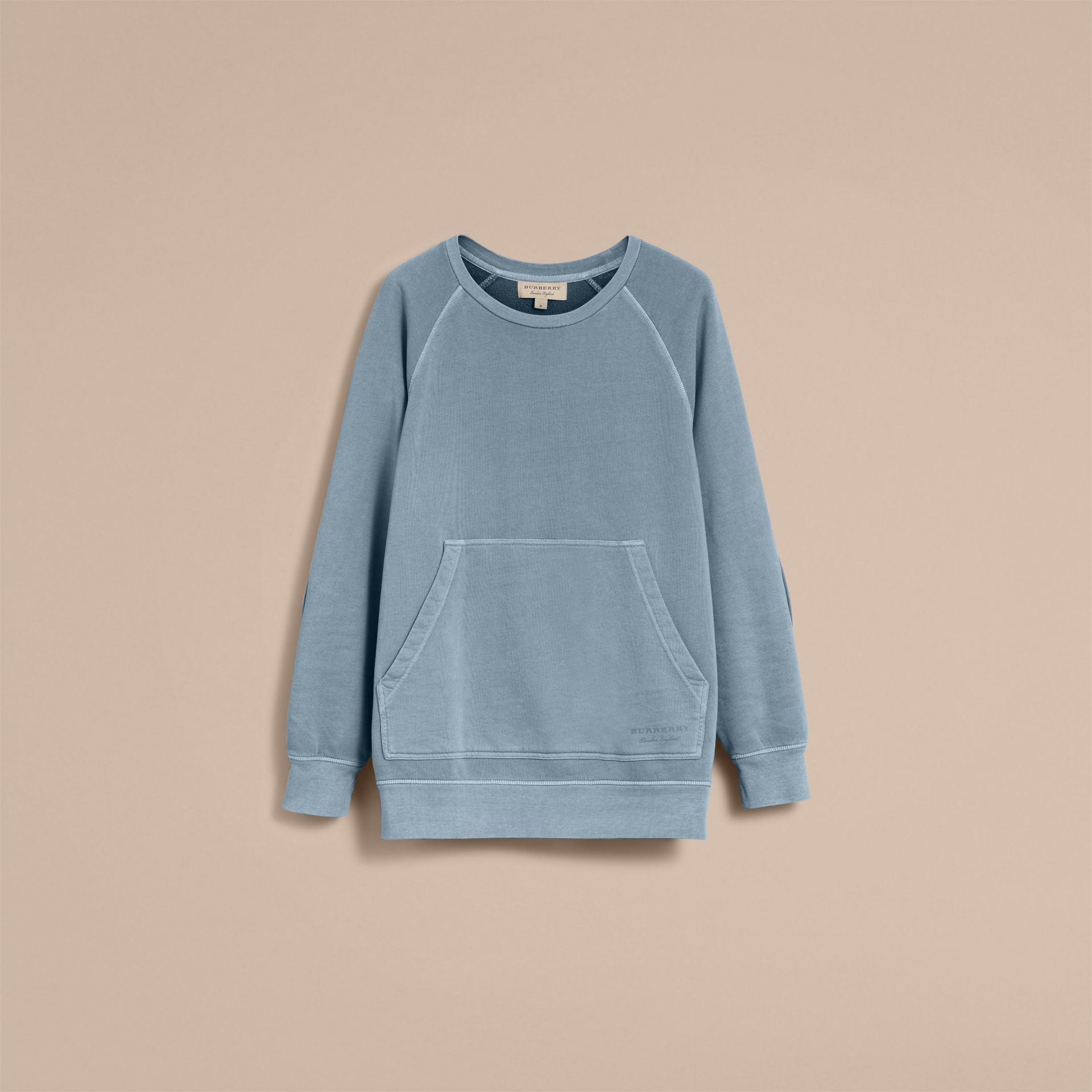 Unisex Pigment-dyed Cotton Oversize Sweatshirt in Dusty Blue - Men | Burberry Hong Kong - gallery image 4