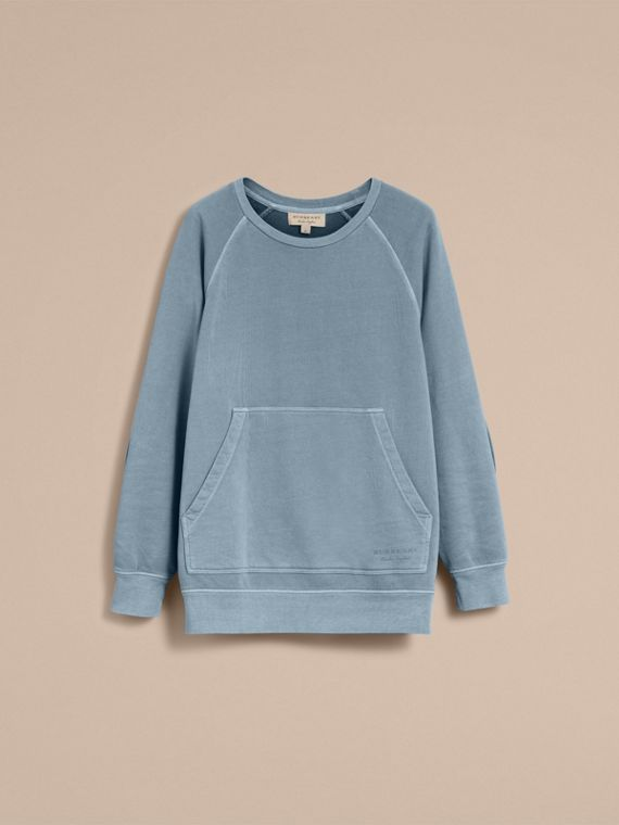 Unisex Pigment-dyed Cotton Oversize Sweatshirt in Dusty Blue - Men | Burberry Hong Kong - cell image 3