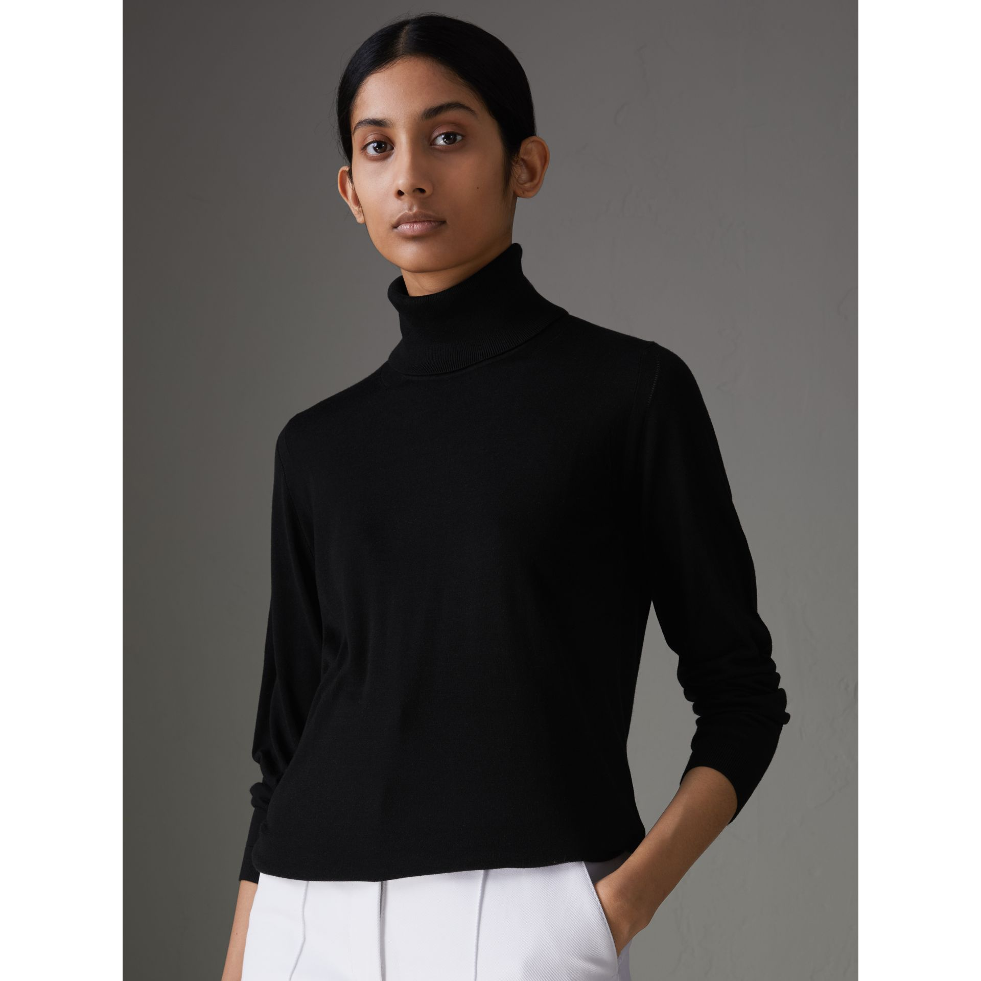 Silk Cashmere Roll-neck Sweater in Black - Women | Burberry United Kingdom - gallery image 4