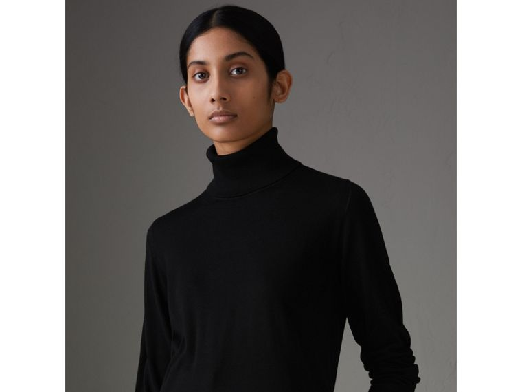 Silk Cashmere Roll-neck Sweater in Black - Women | Burberry Hong Kong - cell image 4