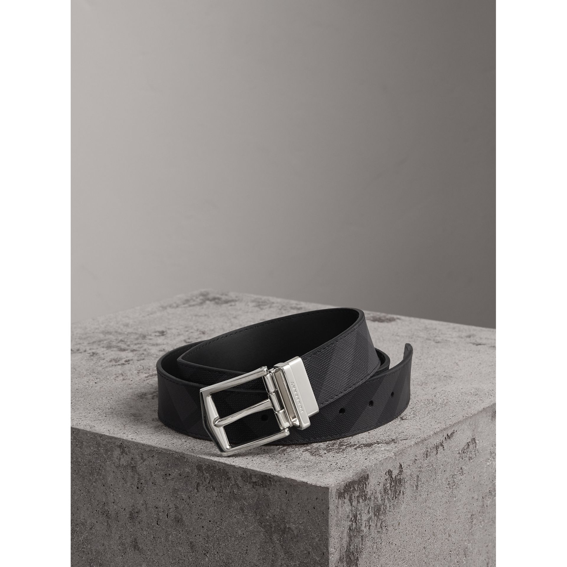 Reversible London Check and Leather Belt in Charcoal/black - Men | Burberry Australia - gallery image 0