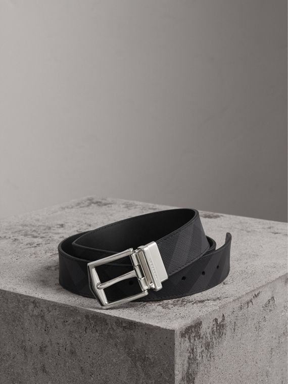 Reversible London Check and Leather Belt in Charcoal/black