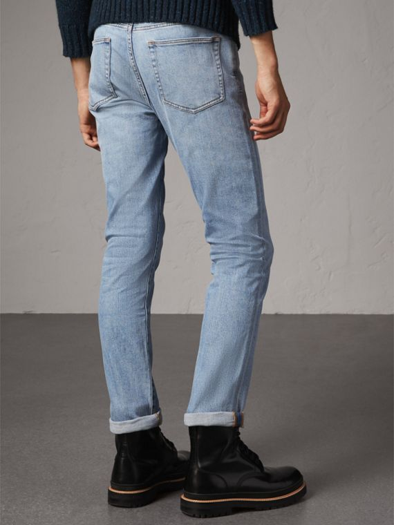 Straight Fit Comfort Stretch Japanese Denim Jeans in Light Indigo - Men | Burberry Australia - cell image 2
