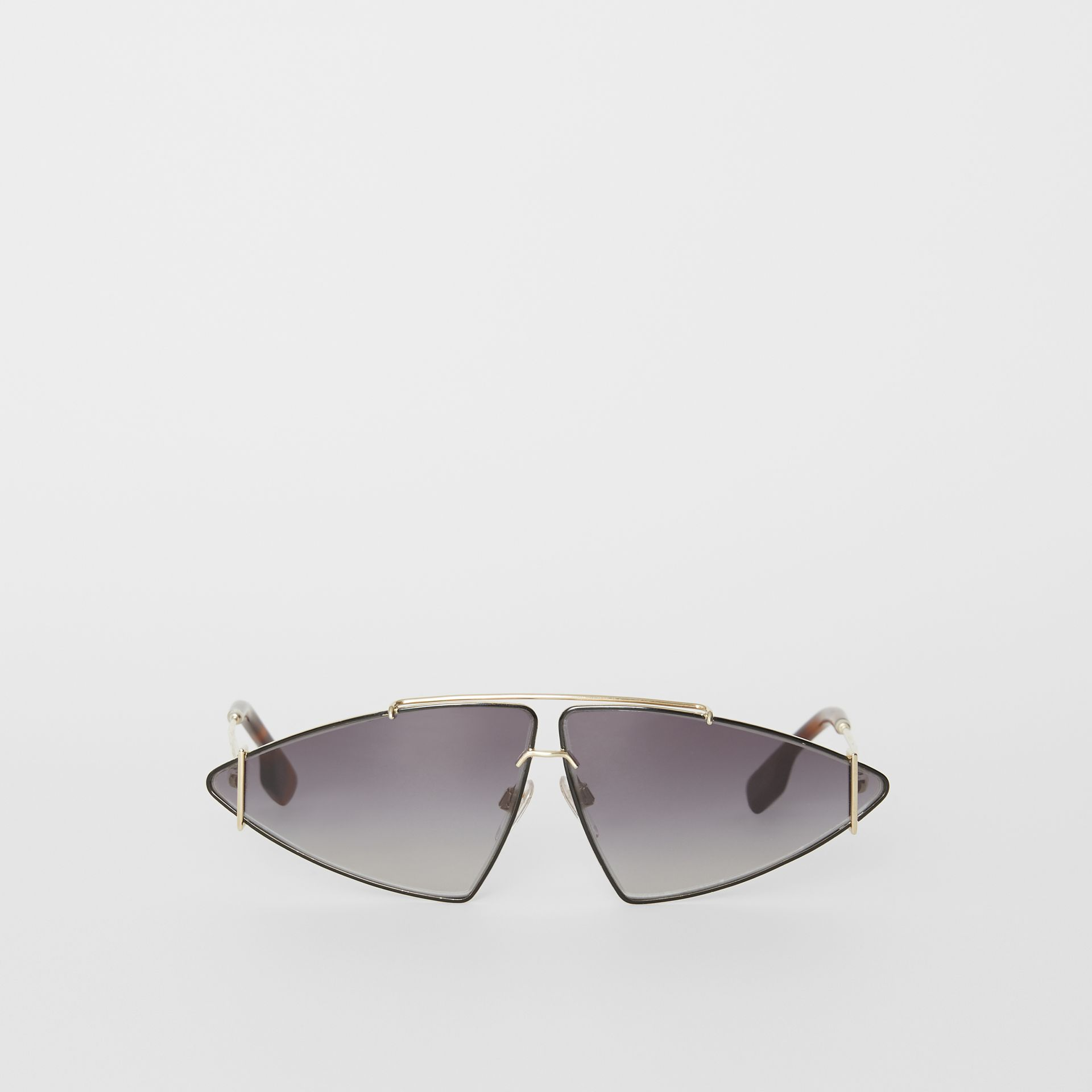 Gold-plated Triangular Frame Sunglasses in Black - Women | Burberry United States - gallery image 0