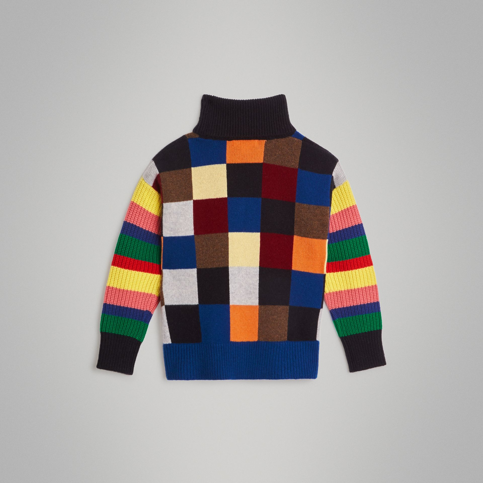 Patchwork Cashmere Roll-neck Sweater in Multicolour | Burberry Singapore - gallery image 3