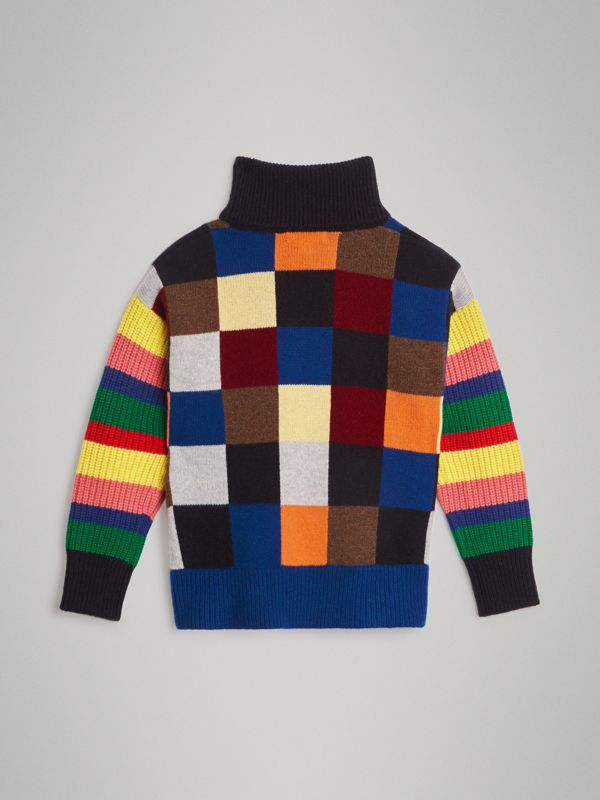 Patchwork Cashmere Roll-neck Sweater in Multicolour | Burberry Singapore - cell image 3
