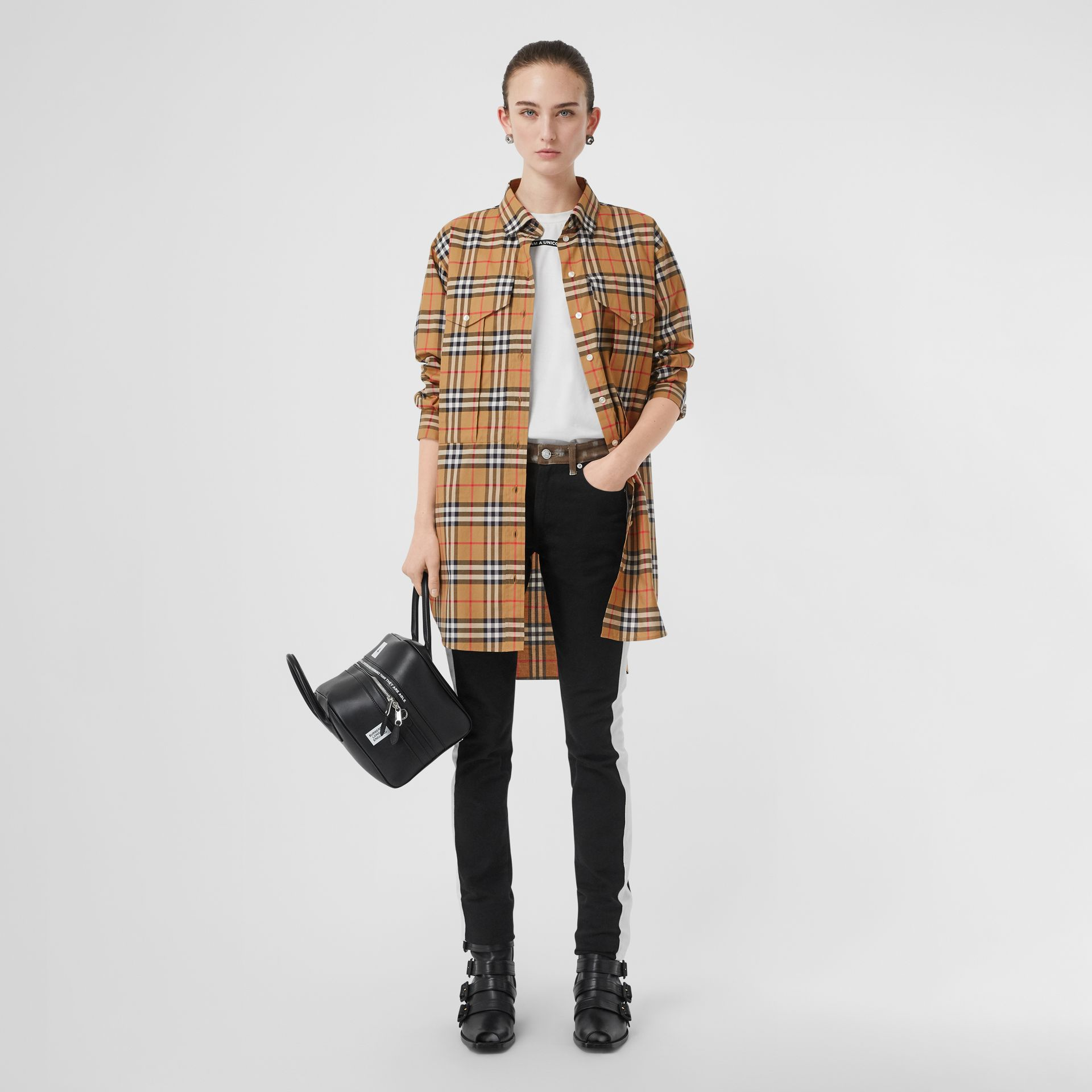 Vintage Check Cotton Oversized Shirt in Antique Yellow - Women | Burberry Singapore - gallery image 0