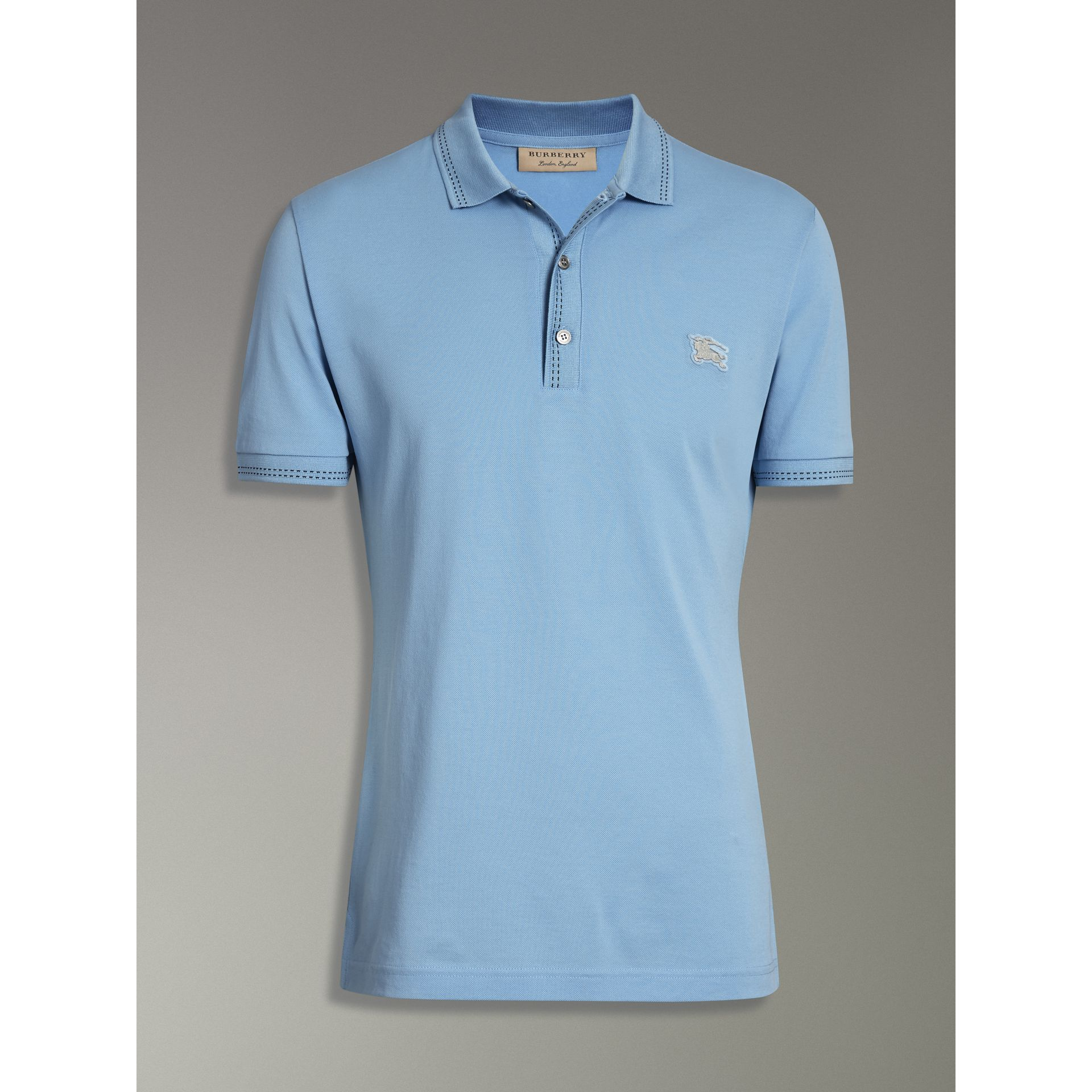 Cotton Piqué Polo Shirt in Pale Turquoise - Men | Burberry - gallery image 3