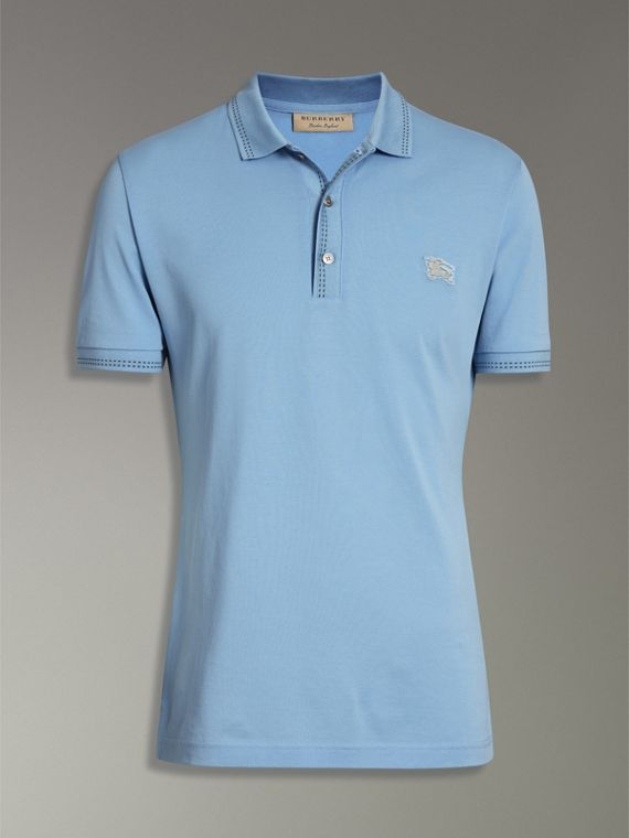 Cotton Piqué Polo Shirt in Pale Turquoise - Men | Burberry - cell image 3