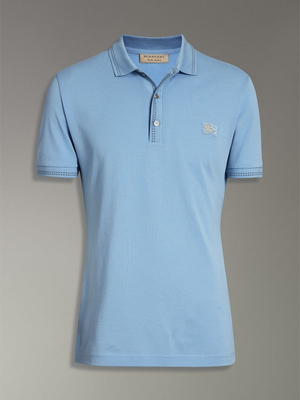Cotton Piqué Polo Shirt in Pale Turquoise - Men | Burberry United States - cell image 3