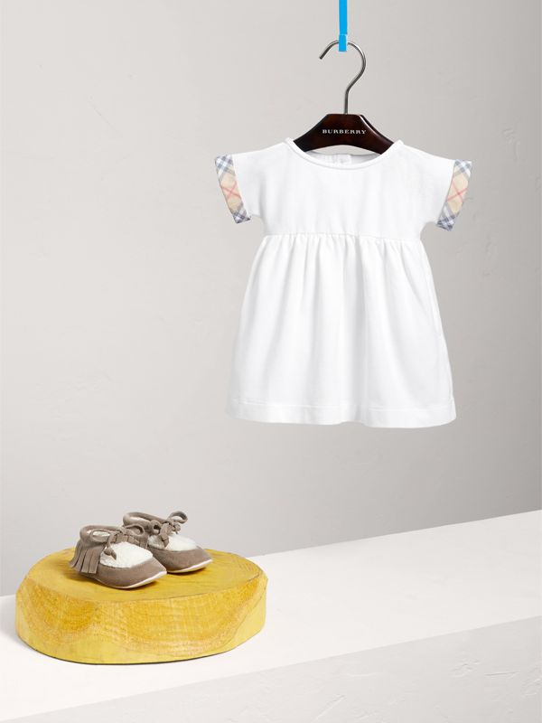 Short-sleeved Cotton Piqué Dress with Check Detail in White | Burberry - cell image 2