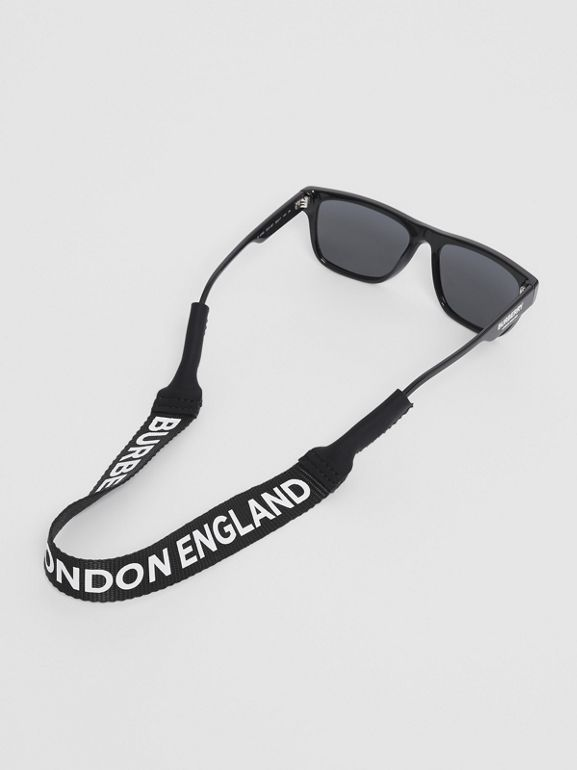 Logo Print Eyewear Lanyard in Black | Burberry - cell image 1