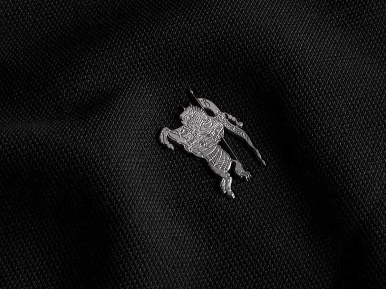 Black Contrast Colour Detail Cotton Piqué Polo Shirt Black - cell image 1