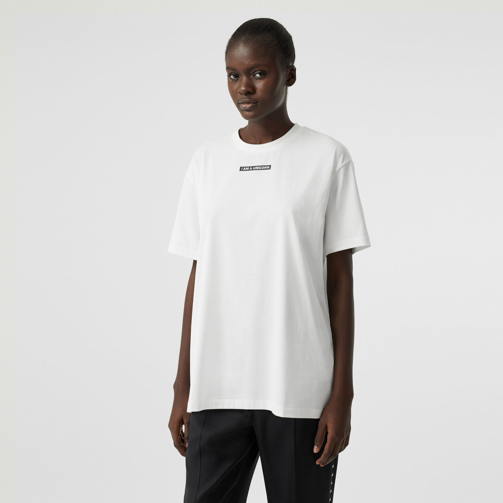 Unicorn Print Cotton Oversized T-shirt in White - Women | Burberry United States - gallery image 0