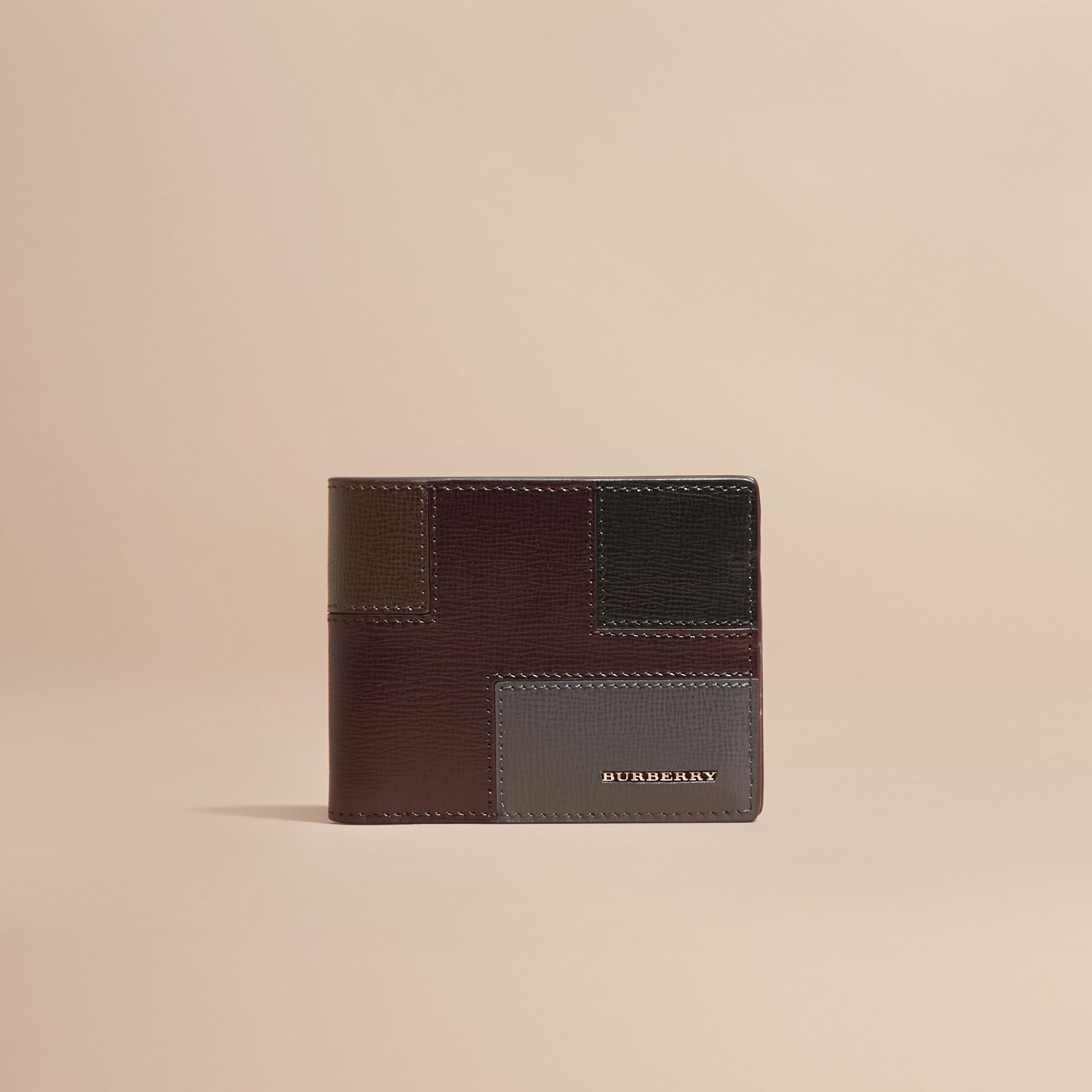 Wine Colour Block London Leather Folding Wallet Wine - gallery image 6