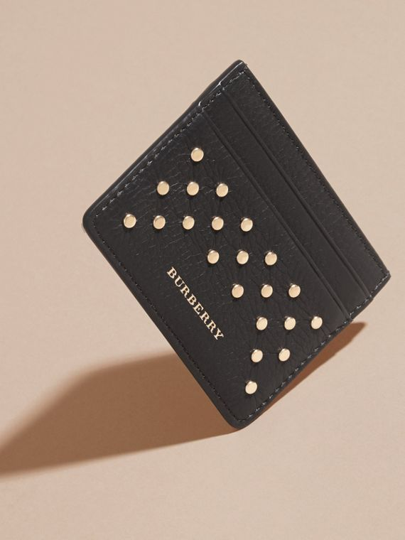 Black Studded Leather Card Case - cell image 2