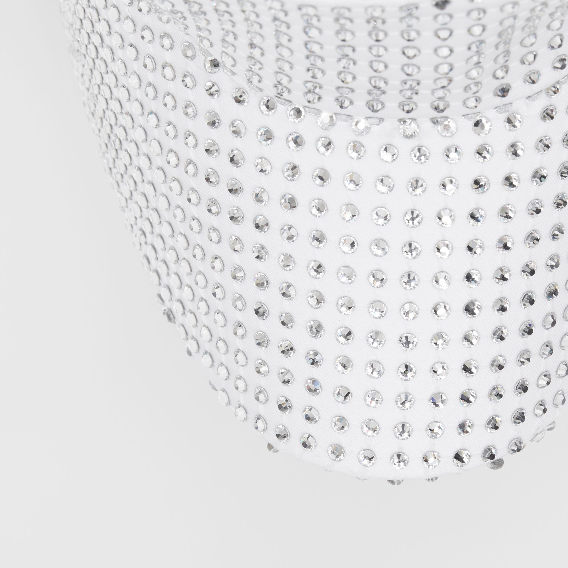 Crystal Mesh Detail Cotton Bonnet Cap in Optic White | Burberry - gallery image 1