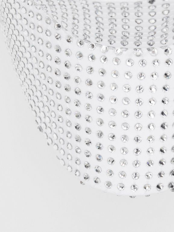 Crystal Mesh Detail Cotton Bonnet Cap in Optic White | Burberry - cell image 1