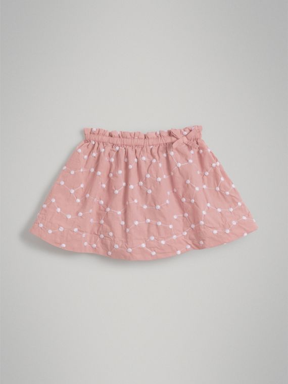 Embroidered Cotton Gathered Skirt in Pale Ash Rose