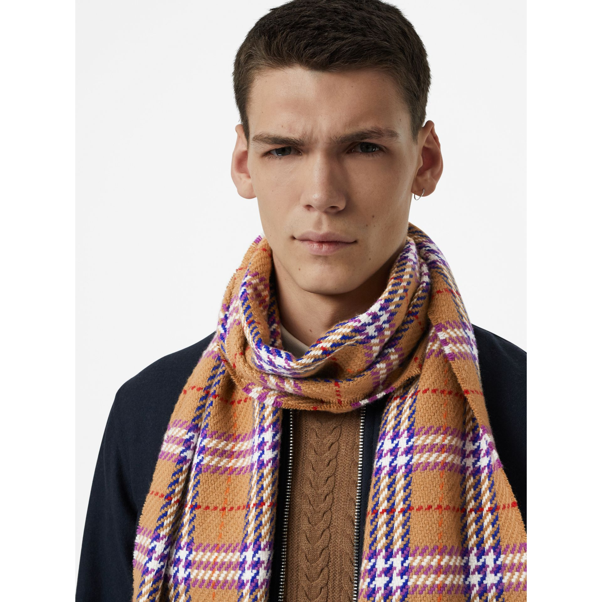Check Merino Wool Scarf in Antique Yellow | Burberry - gallery image 6