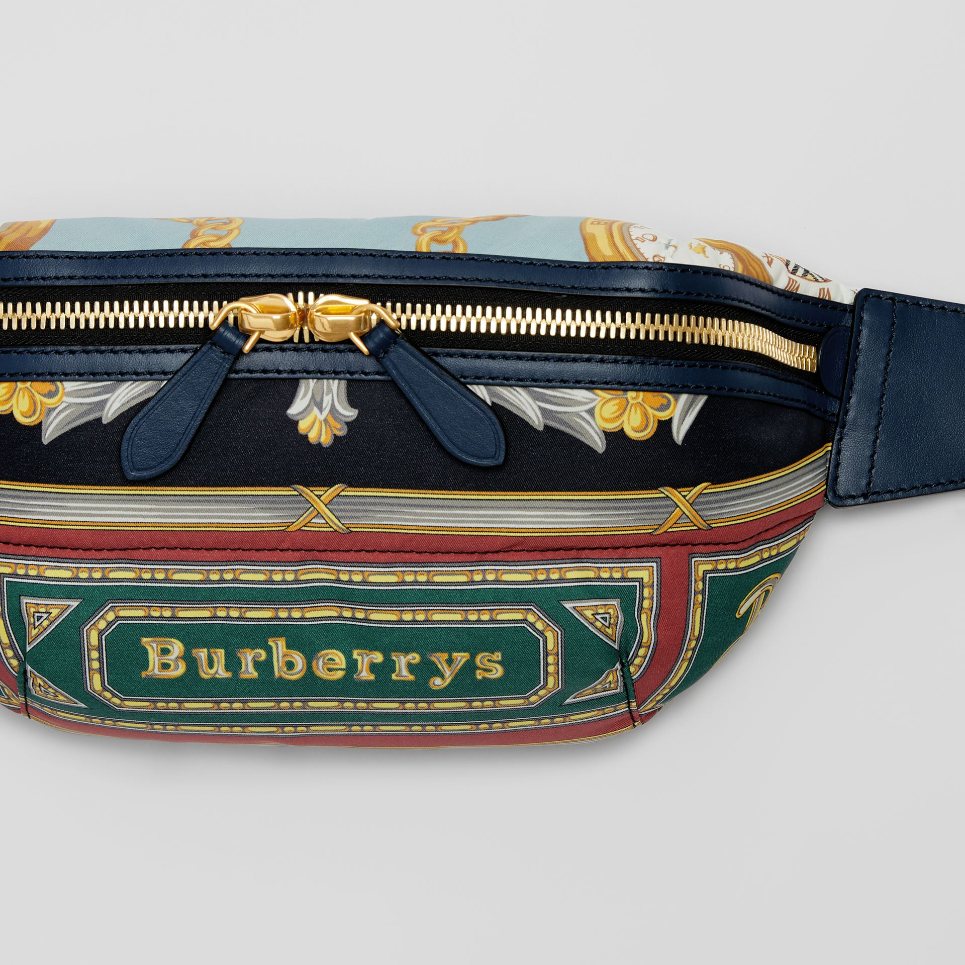 Medium Archive Scarf Print Bum Bag in Forest Green | Burberry - gallery image 1