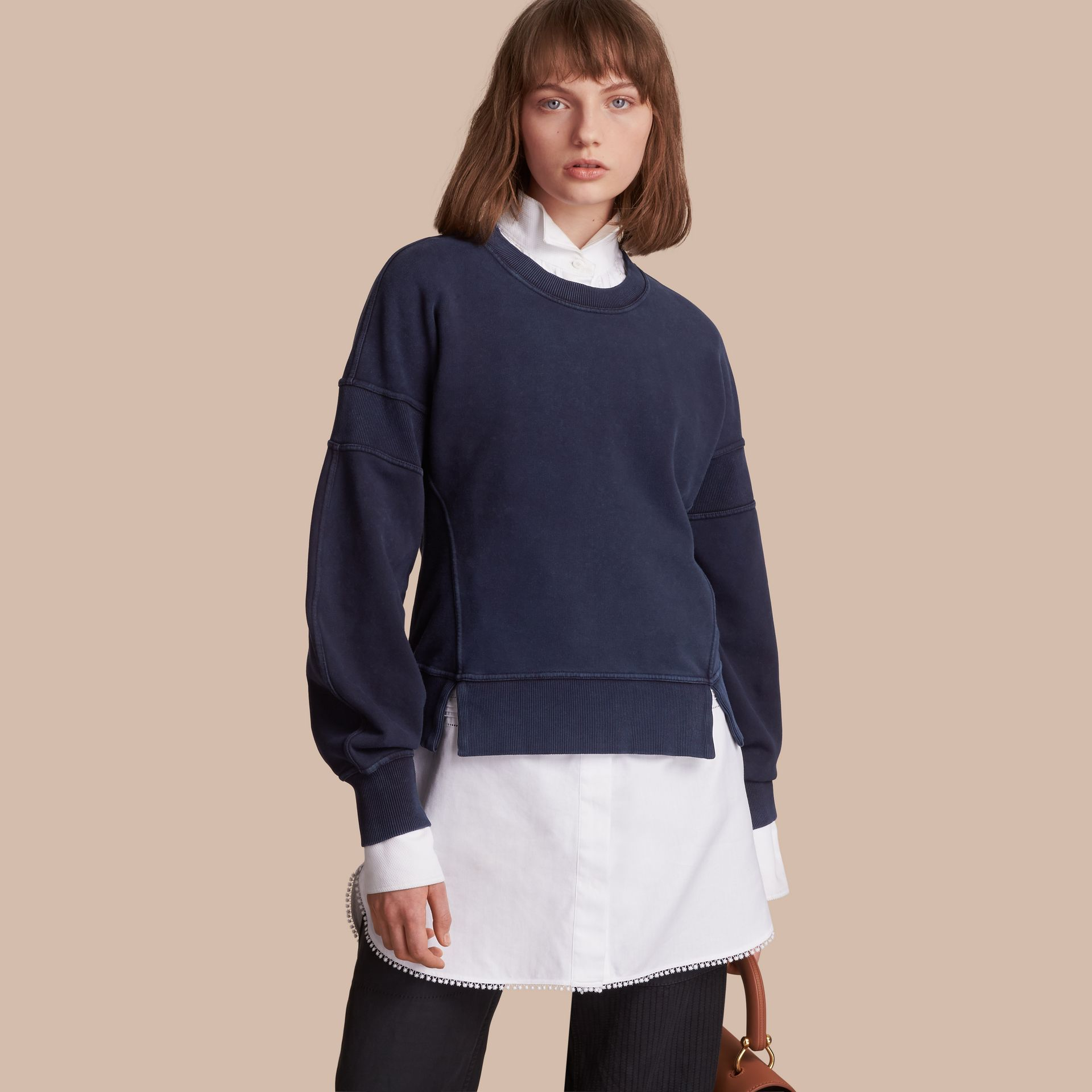 Puff-sleeve Cotton Jersey Sweatshirt - Women | Burberry - gallery image 1
