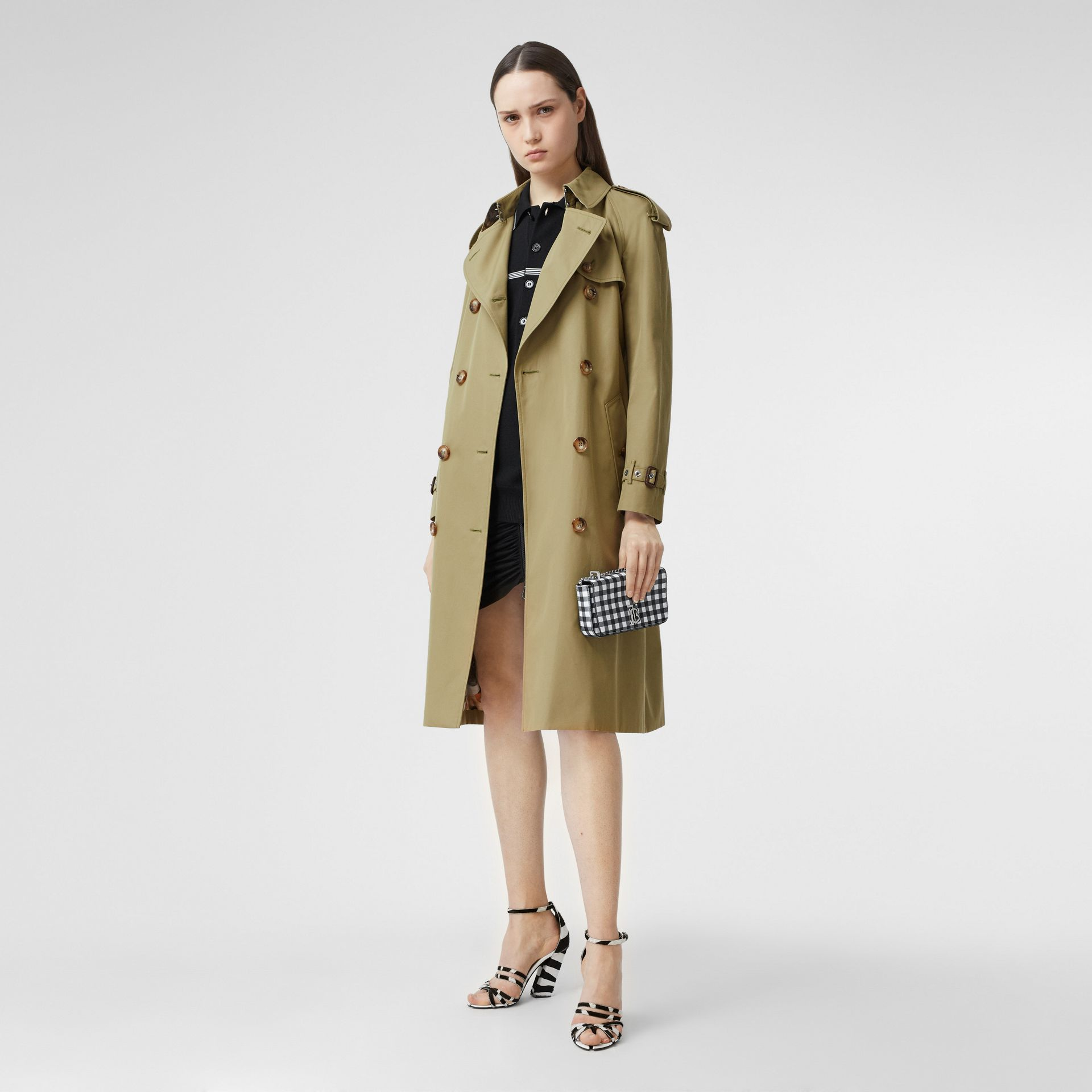 Animalia Print-lined Cotton Gabardine Trench Coat in Rich Olive - Women | Burberry Canada - gallery image 6