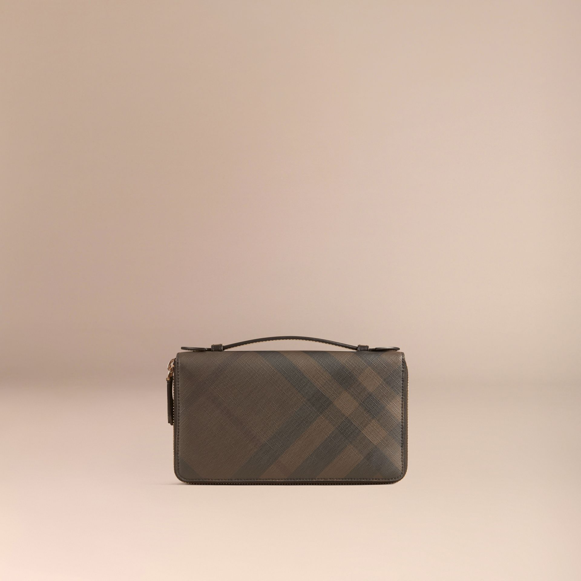London Check Travel Wallet in Chocolate/black - gallery image 3