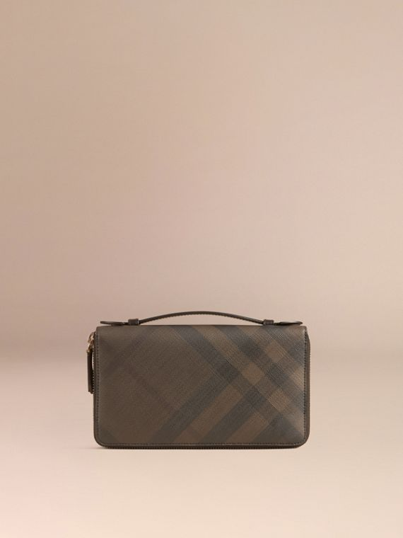 London Check Travel Wallet in Chocolate/black - Men | Burberry Australia - cell image 2