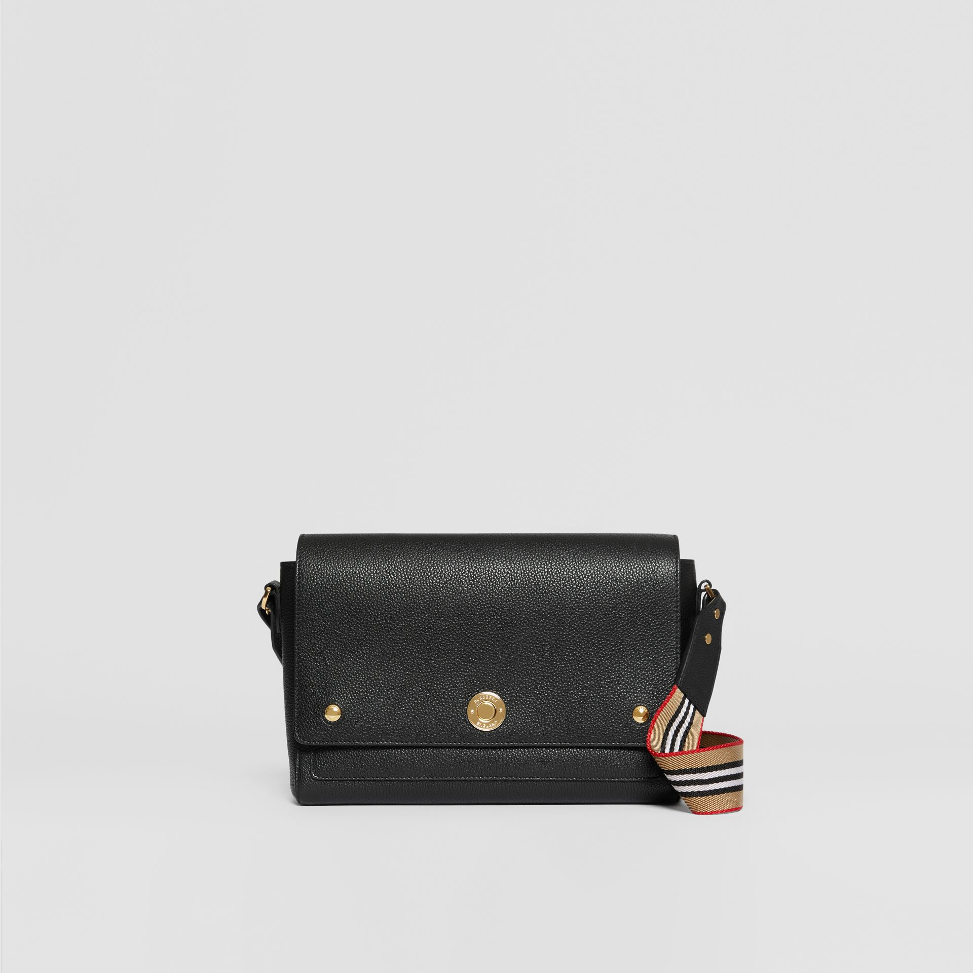 Grainy Leather Note Crossbody Bag in Black - Women | Burberry - gallery image 0