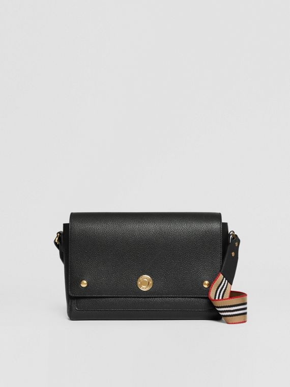 Grainy Leather Note Crossbody Bag in Black