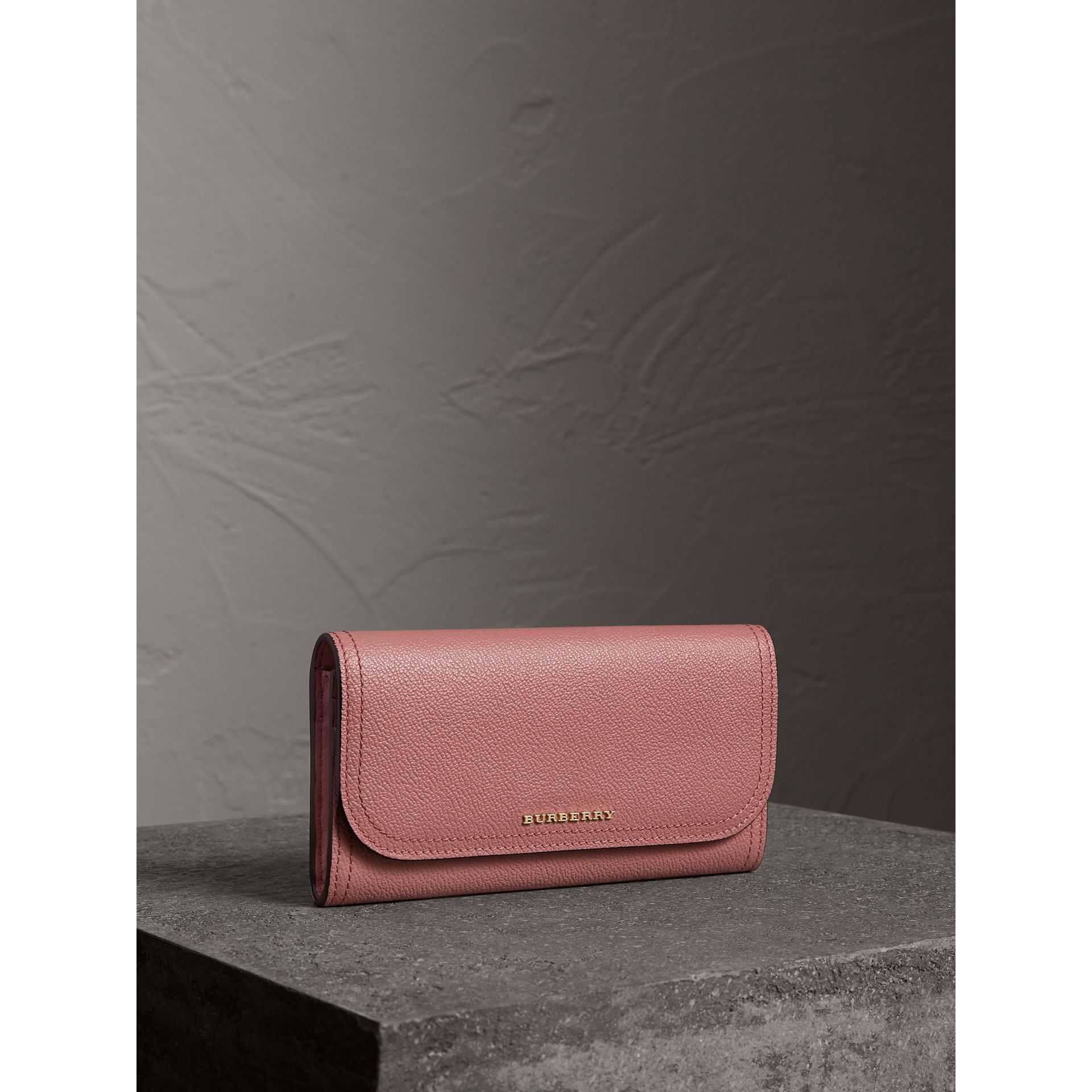 Grainy Leather Slim Continental Wallet in Dusty Pink - Women | Burberry - gallery image 0